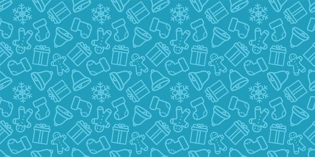 크리스마스 완벽 한 패턴입니다. 새 해 벡터 텍스처입니다. 크리스마스 아이콘으로 축제 원활한 블루 장식입니다. 프리미엄 벡터