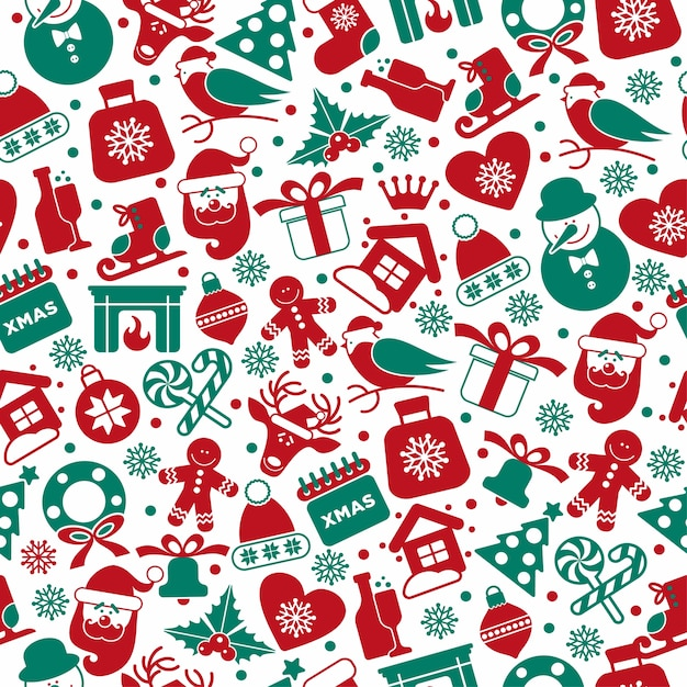 Christmas seamless pattern of icons. Free Vector