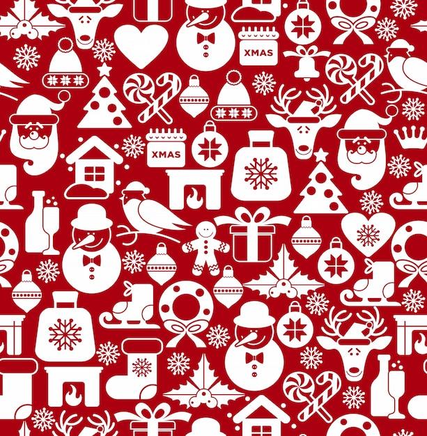 Рождественские бесшовные шаблон иконы. Бесплатные векторы
