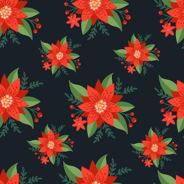 검은 배경에 크리스마스 원활한 패턴 프리미엄 벡터