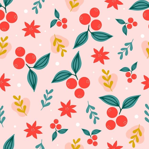분홍색 배경에 크리스마스 원활한 패턴 프리미엄 벡터