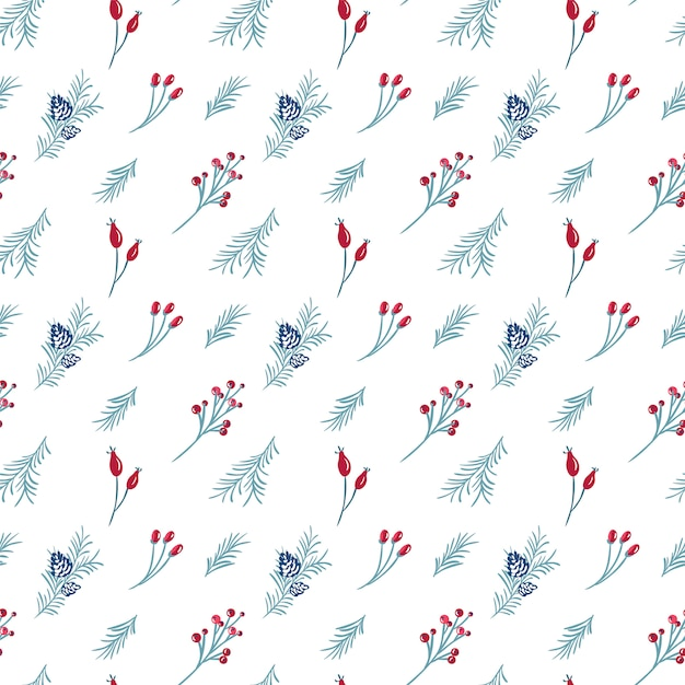 Christmas seamless pattern of red berries, pine branch Premium Vector