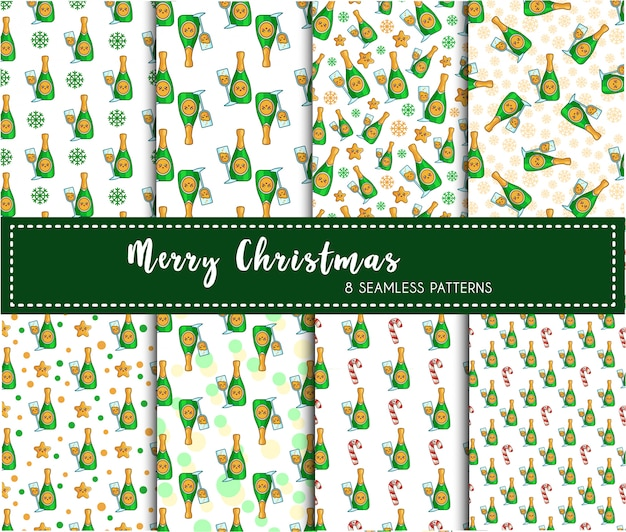 Christmas seamless pattern set - champagne drink or beverage, bottle wine, endless texture Premium Vector