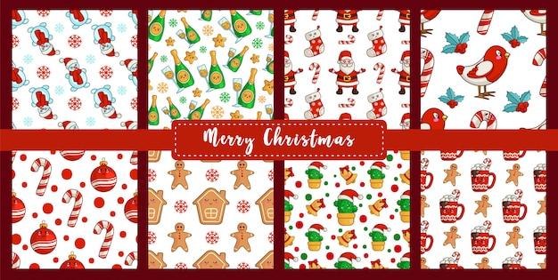 Christmas seamless pattern set kawaii new year bullfinch, snowman, candy cane, gingerbread man Premium Vector