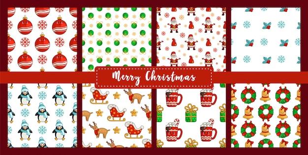 Christmas seamless pattern set with kawaii penguin, reindeer rudolf, santa claus sleigh Premium Vector