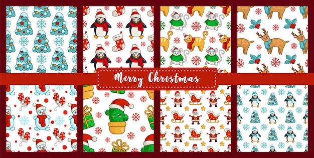 Christmas seamless pattern set with new year characters - kawaii snowman, cat, mouse or rat, tree, cactus, santa claus Premium Vector