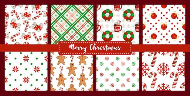 Рождество бесшовные модели с новогодними украшениями конфета, снежинка, носки, пряничный человечек Premium векторы