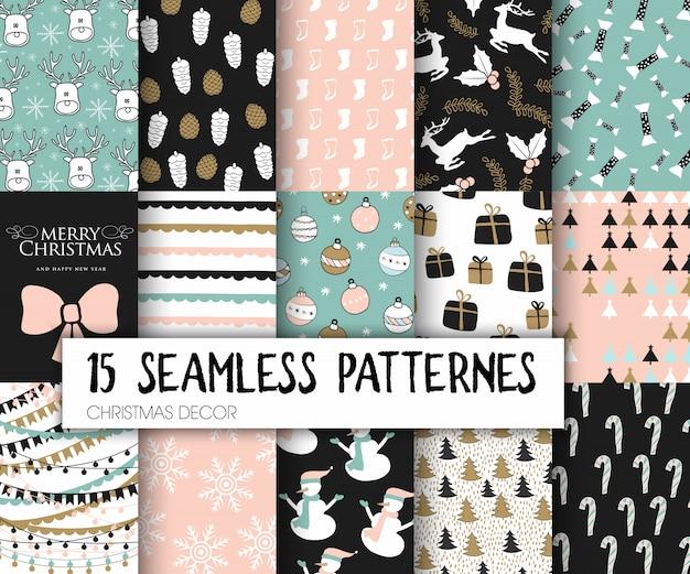 Christmas seamless pattern set Premium Vector