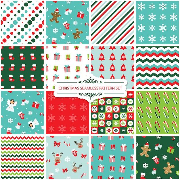 Christmas seamless pattern set. Premium Vector