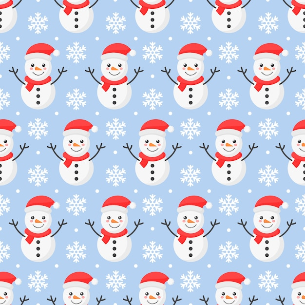 Christmas seamless pattern. snowman isolated on blue Premium Vector