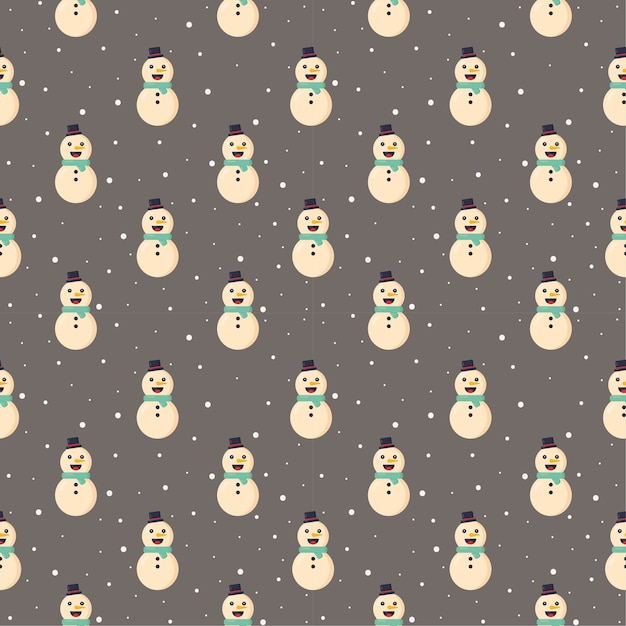 Christmas seamless pattern snowman isolated on gray background Premium Vector