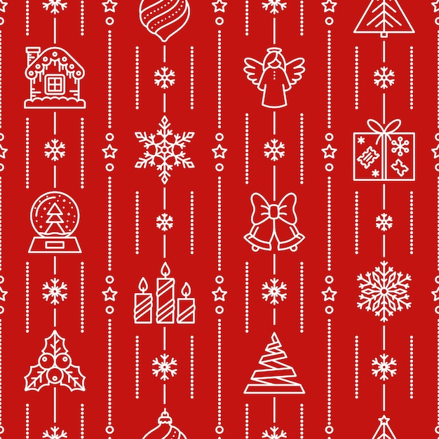 Christmas seamless pattern, winter icon, xmas, new year red background, paper wrap, . Premium Vector