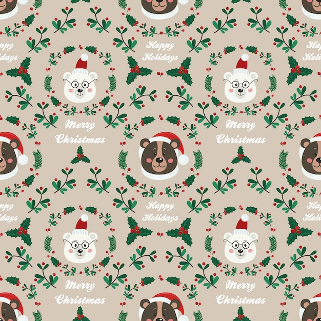 Christmas seamless pattern with bear Premium Vector