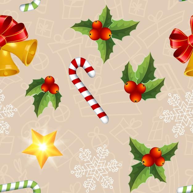 カラフルなヤドリギの葉キャンディスターと鐘とクリスマスのシームレスなパターン 無料ベクター