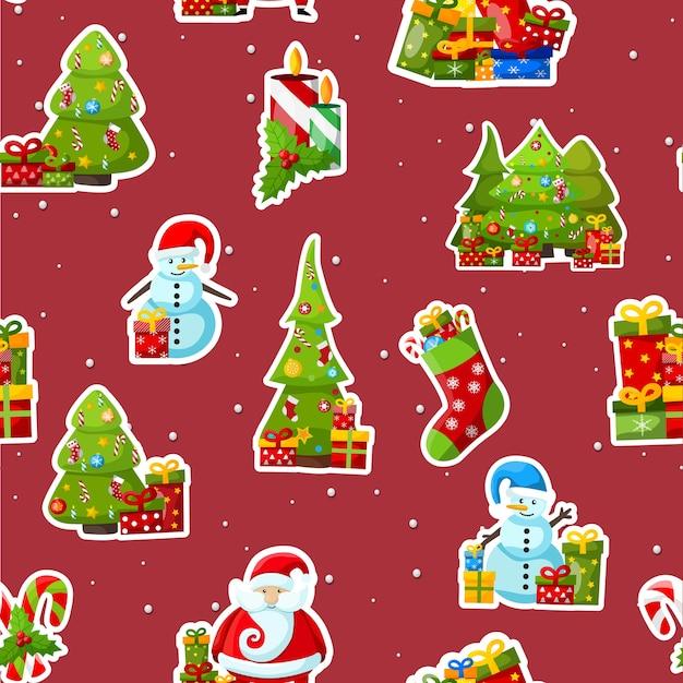 Рождественский фон с красочными зимними символами на красном Бесплатные векторы
