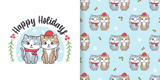 かわいい猫の漫画とクリスマスのシームレスなパターン Premiumベクター