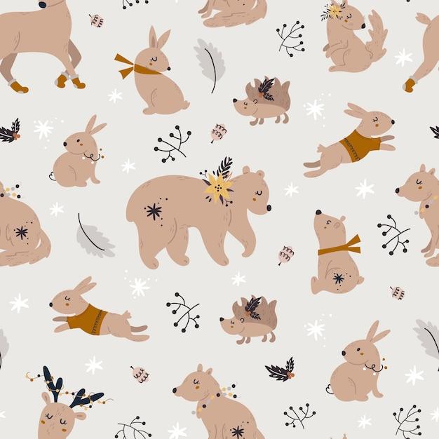 귀여운 숲 동물들과 함께 크리스마스 완벽 한 패턴입니다. 프리미엄 벡터