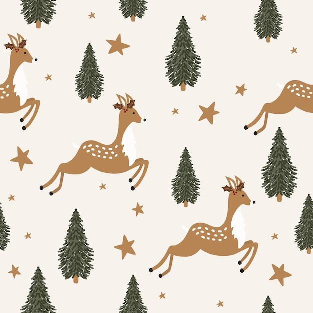 鹿とクリスマスのシームレスなパターン Premiumベクター