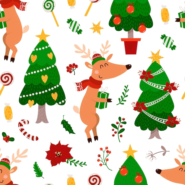 Christmas seamless pattern with deers and christmas tree Premium Vector