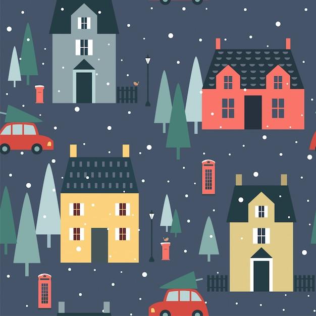 영어 별장, 나무, 자동차, 크리스마스 원활한 패턴 프리미엄 벡터