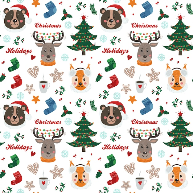 Christmas seamless pattern with forest animals Premium Vector