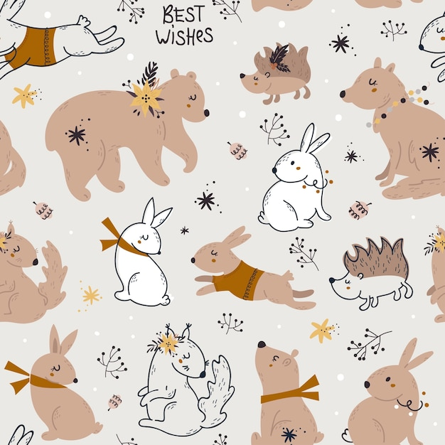 Christmas seamless pattern with forest animals. Premium Vector