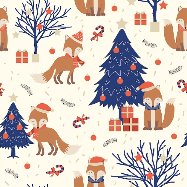 Christmas seamless pattern with fox Premium Vector