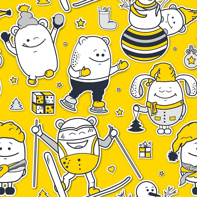 Christmas seamless pattern with funny monsters Premium Vector
