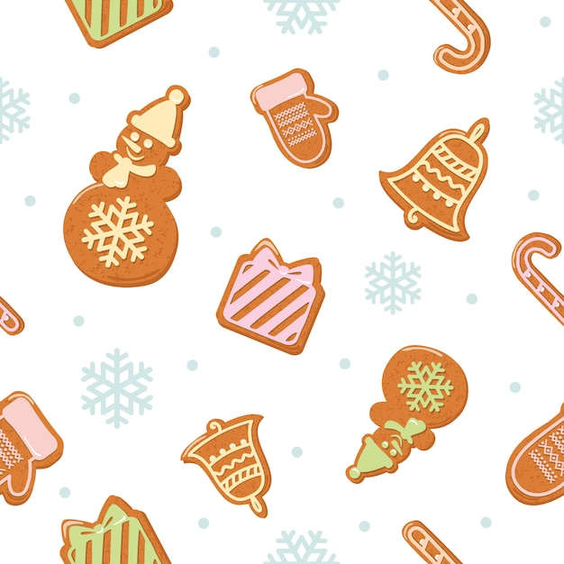 Christmas seamless pattern with gingerbread cookies Premium Vector