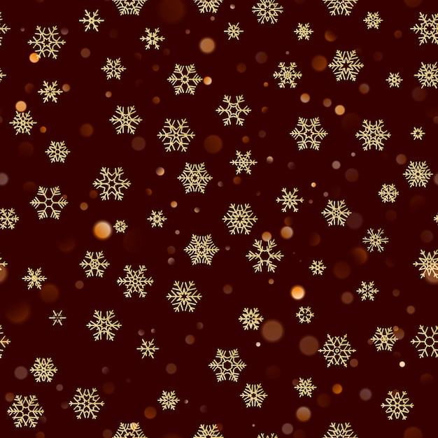 Christmas seamless pattern with gold snowflakes on dark brown red background. holiday  for christmas and new year decoration. Premium Vector