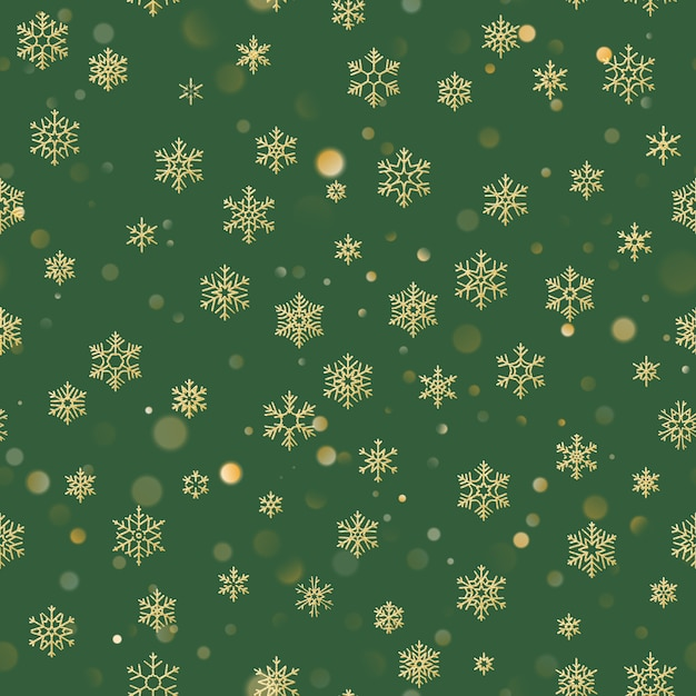 Christmas seamless pattern with gold snowflakes on green background. holiday  for christmas and new year decoration. Premium Vector