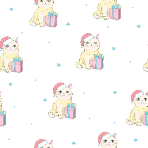 Christmas seamless pattern with grey cat with santa claus hat Premium Vector