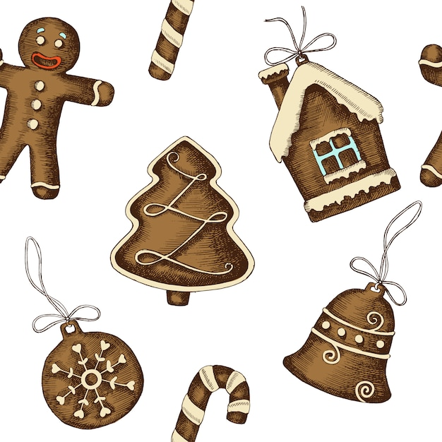 Christmas seamless pattern with hand drawn gingerbread Premium Vector