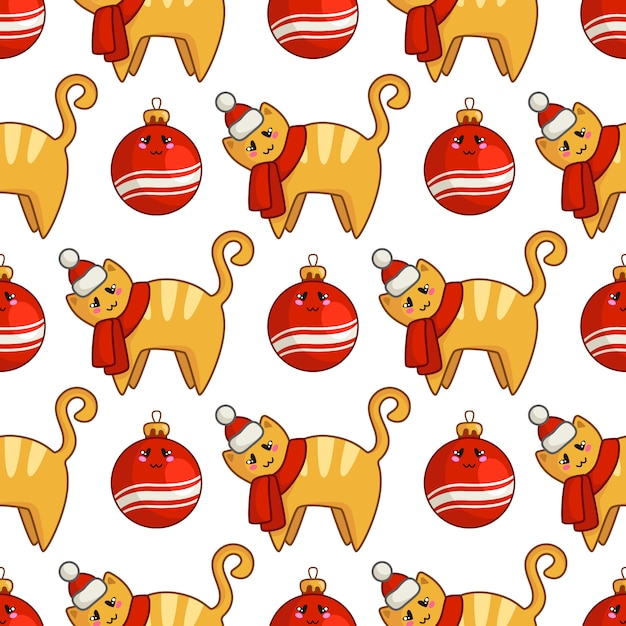 Christmas seamless pattern with kawaii red cat or kitten dressed in santa hat and scarf, decorative balls Premium Vector