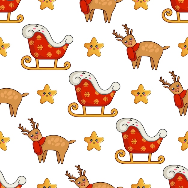 Christmas seamless pattern with kawaii reindeer in blue scarf, cute stars and santa sleigh Premium Vector