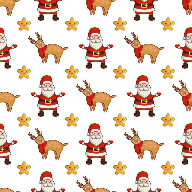 Christmas seamless pattern with kawaii reindeer, cute stars and santa claus Premium Vector
