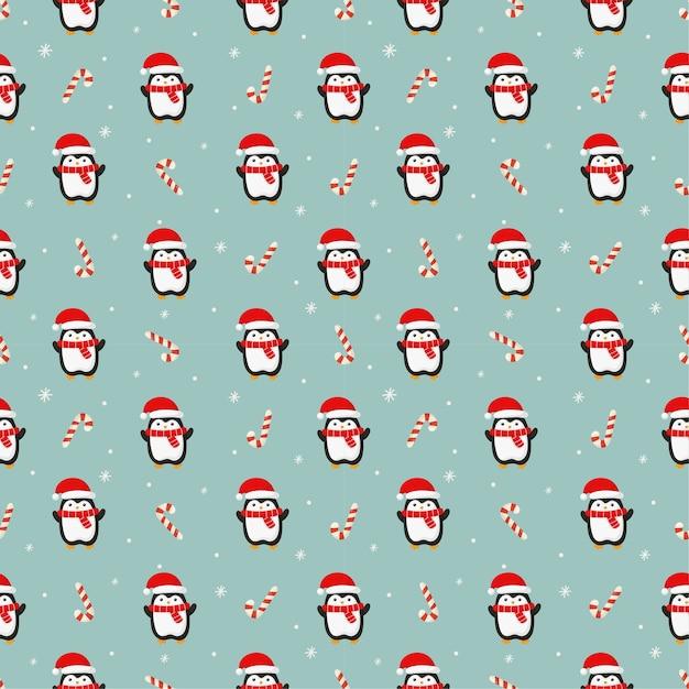 파란색 배경에 펭귄 크리스마스 원활한 패턴 프리미엄 벡터