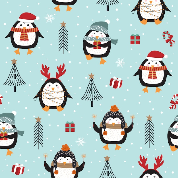 Christmas seamless pattern with penguin Premium Vector