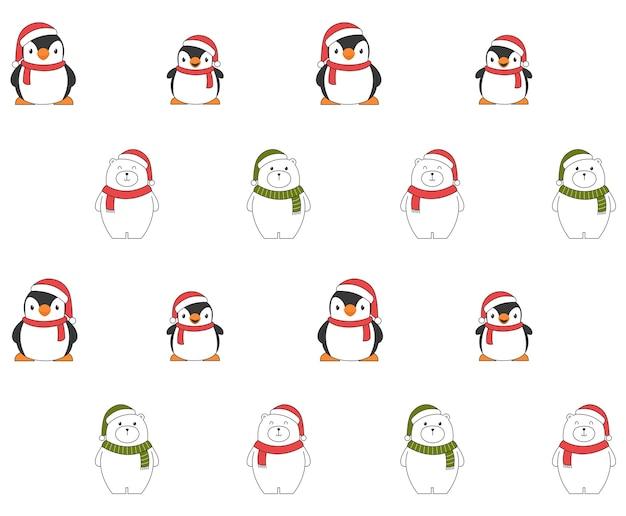 Рождественский фон с пингвинами и белыми медведями. Бесплатные векторы