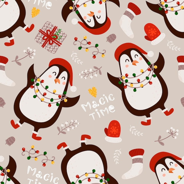 Christmas seamless pattern with penguins Premium Vector