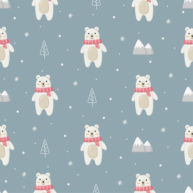 青い背景に分離されたホッキョクグマとクリスマスのシームレスなパターン Premiumベクター