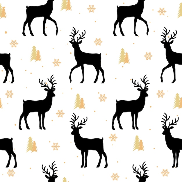 Christmas seamless pattern with reindeer background Premium Vector