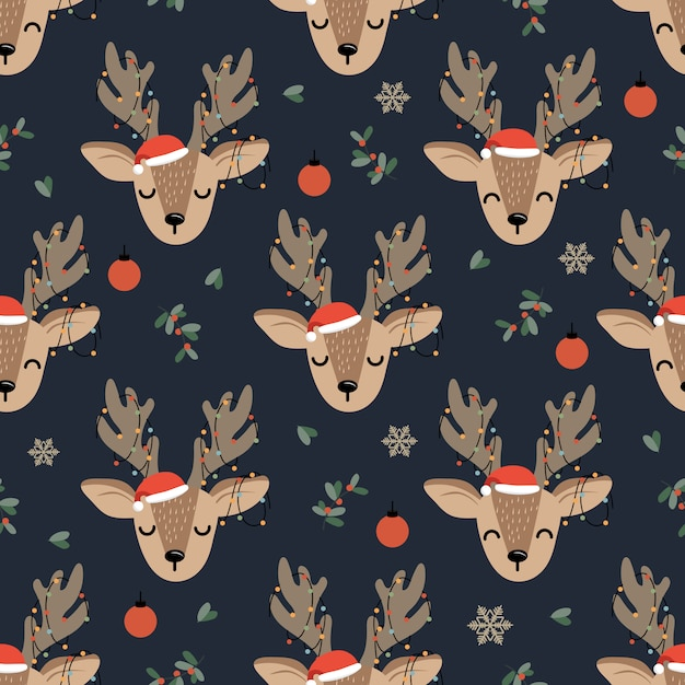 Christmas seamless pattern with reindeer Premium Vector