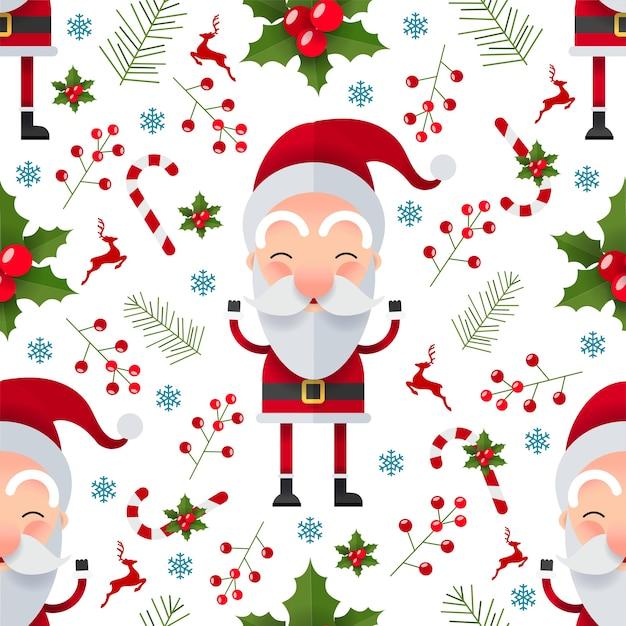 산타 클로스 캐릭터와 함께 크리스마스 원활한 패턴 무료 벡터