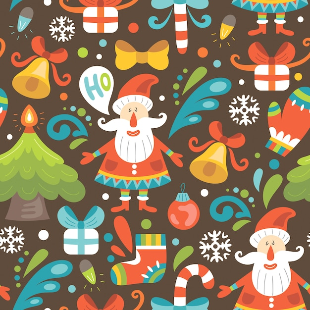 Christmas seamless pattern with santa claus Premium Vector