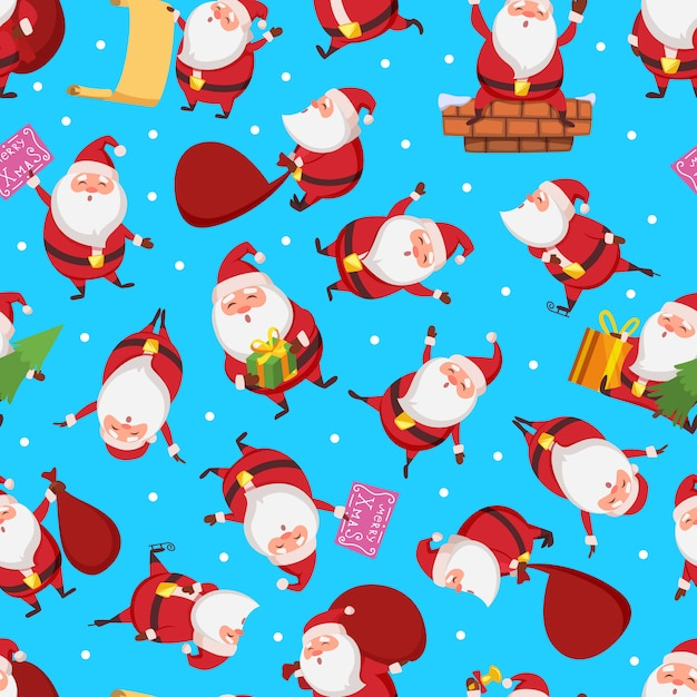 Christmas seamless pattern with santa in different action poses. pattern christmas with santa claus illustration Premium Vector