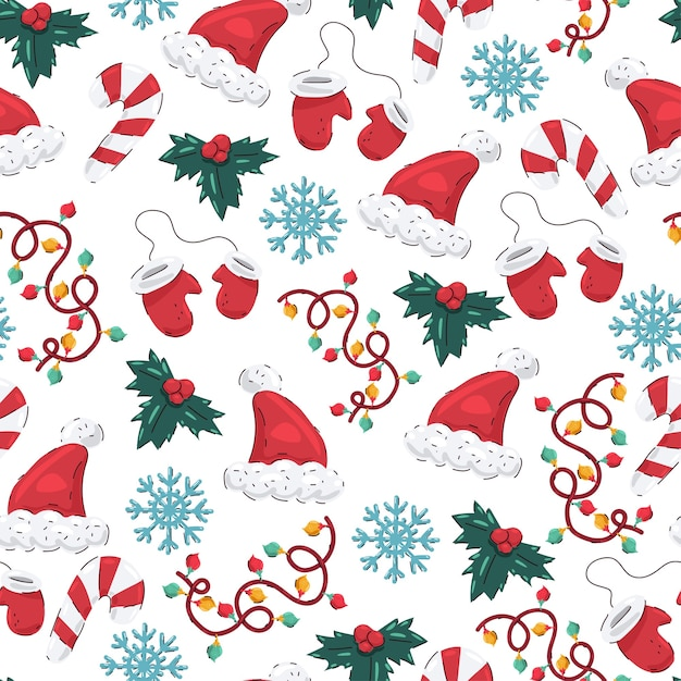 Christmas  seamless pattern with santa hat, mittens, snowflakes, mistletoe, garland and candy cane on a white background. Premium Vector