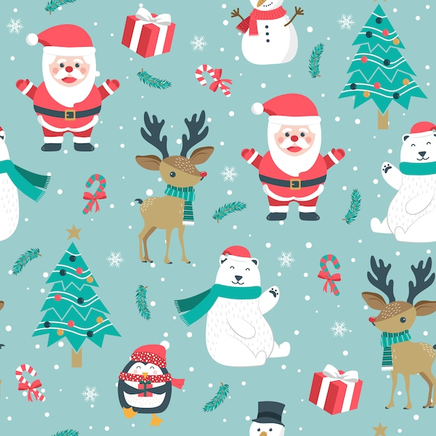 Christmas seamless pattern with santa and reindeer Premium Vector