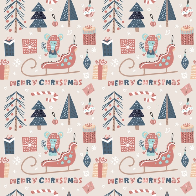Christmas seamless pattern with santa's sledge, mouse, xmas tree Premium Vector