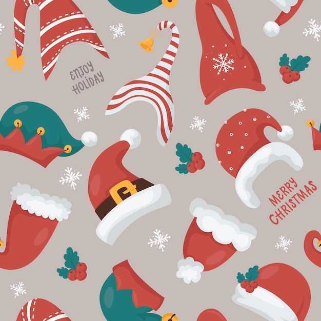 サンタとノームの帽子とクリスマスのシームレスなパターン。クリスマスの招待状、tシャツ、スクラップブッキングのイラスト Premiumベクター
